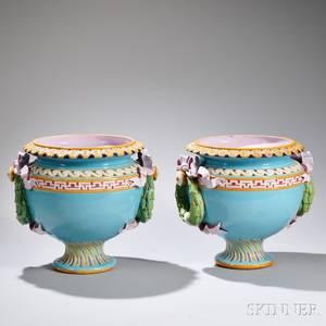 Pair of Minton Majolica Jardinieres
