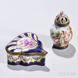 Two French Porcelain Dresser Boxes
