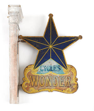Painted tin  Cycles Wonder  trade sign