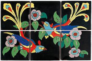 Six deco pottery tiles