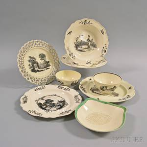 Six Pieces of Transferdecorated Creamware