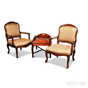 Pair of Louis XVstyle Upholstered Fauteuil and a Georgianstyle Mahogany Butlers Tray Table
