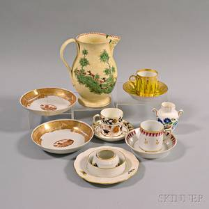 Twelve Pieces of English and Continental Porcelain and Ceramics