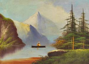 American School 19th Century Folk Art Painting of a Native American in a Canoe