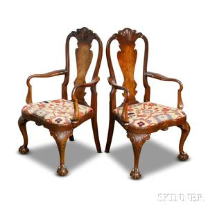 Pair of Queen Annestyle Carved Mahogany Armchairs