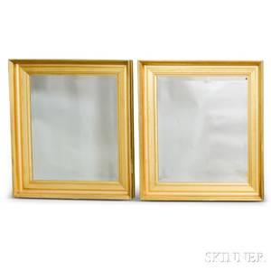 Pair of Giltgesso Rectangular Mirrors