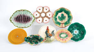 Eight majolica serving dishes