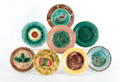 Collection of eight majolica plates