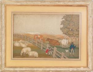 Pair of English cut velvet landscapes 19th c