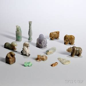 Fourteen Small Jade and Hardstone Carvings
