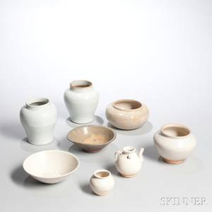Group of Mostly Whiteglazed Ceramic Vessels