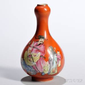 Small Redglazed Enameled Bottle Vase