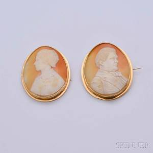 Pair of Shell Cameo Brooches