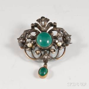 18kt Gold Diamond Pearl and Hardstone Brooch