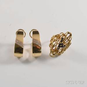 14kt Gold and Sapphire Ring and Pair of 14kt Gold and Sapphire Earclips