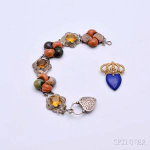 Sterling Silver Scottish Agate and Citrine Bracelet and a 14kt Gold Lapis and Seed Pearl Crown Brooch