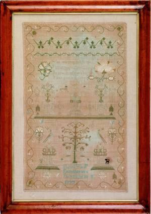Silk on linen sampler dated 1777 wrought by Elizabeth Wilkins