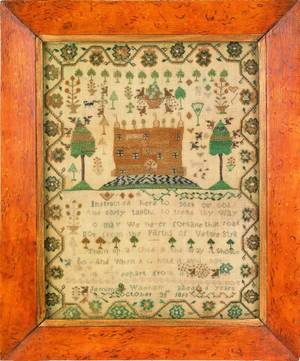 Silk on linen sampler dated 1810 wrought by Jemima Wadham