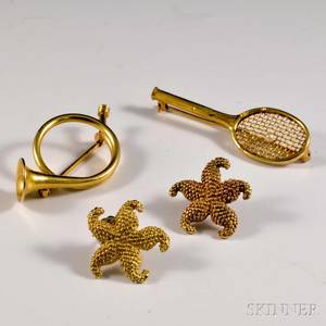 14kt Gold Racket Brooch French Horn Brooch and a Pair of Starfish Earrings