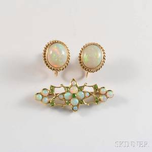 14kt Gold Opal and Demantoid Brooch and a Pair of Opal Earrings