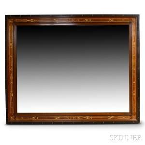 Large Renaissance Revival Parcelgilt and Scratchcarved Walnut Mirror