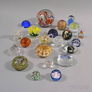 Approximately Twentyone Art Glass Paperweights