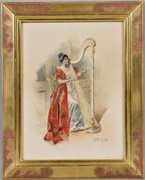Bernard Louis Borione French b 1865 Woman Playing a Harp
