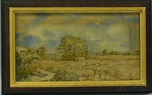 Framed Watercolor Needlework Picture of a Harvest Scene