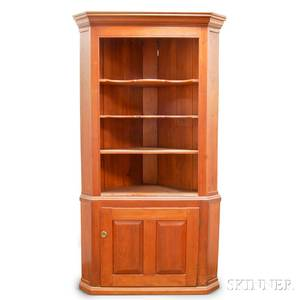 Country Pine Twopart Open Corner Cupboard