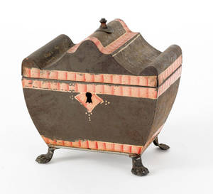 Painted sarcophagus form tin tea caddy ca 1830