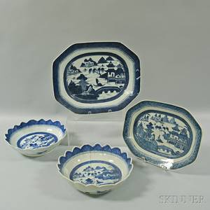 Two Canton Porcelain Bowls and Two Platters