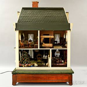 Victorian Carved and Painted Dollhouse and Dollhouse Accessories