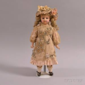 Painted Composition Doll with Embroidered Lace Dress