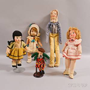 Five Collectible European and Madame Alexander Cloth Dolls