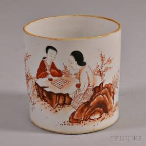 Enameled White Porcelain Brush Pot