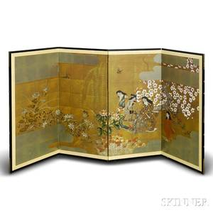 Japanese Painted Fourpanel Screen