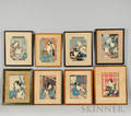 Eight Japanese Color Woodblock Prints