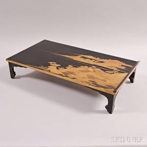 Black and Gilt Lacquer Low Table