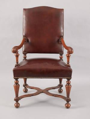 Jacobean style walnut armchair early 20th c
