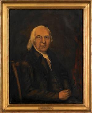 American oil on canvas portrait of Ebenezer Hazard