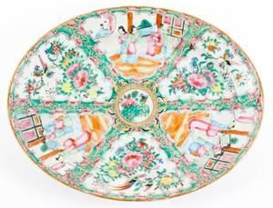 Chinese Rose Medallion Platter w Figural Scenes