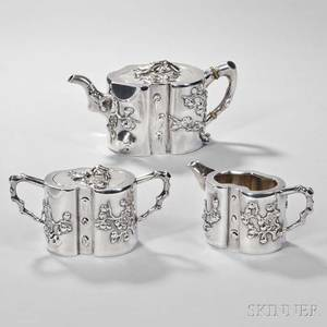 Threepiece Assembled Chinese Export Silver Tea Service