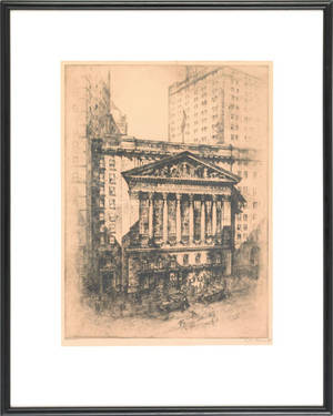 Two black and white engraving of the New York Stock Exchange and Wall Street early 20th c