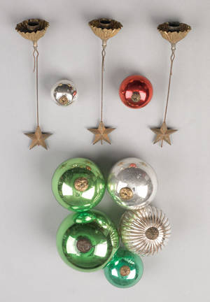 Seven German kugel Christmas ornaments late 19th c