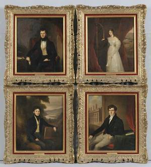 William Moore American 17901851 Set of Four Portraits of the Long Family Edwina Roger Herbert and Harry