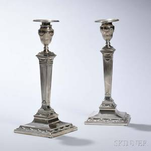 Pair of Tiffany  Co Sterling Silver Candlesticks