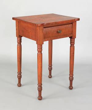Pennsylvania Sheraton tiger maple one drawer stand ca 1830
