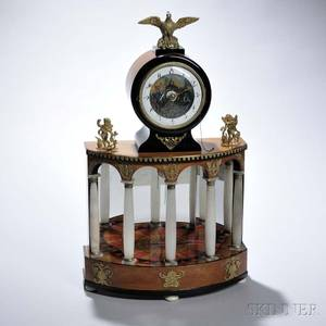 Biedermeier Fruitwood and White Onyx Mantel Clock