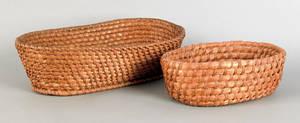 Two Pennsylvania rye straw bread baskets 19th c