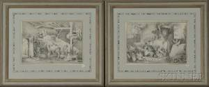British School 19th Century Two Drawings of Barn Interiors with Animals and Children